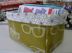 Yet another fabric storage bin to make myself.  This one out of oilcoth.