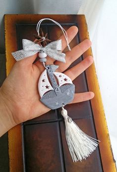 Silver boat hanging ornament decorated with star anise, Greek lucky charm 2020 handmade from polymer clay, hanging ornament with glitter Diy Clay, Clay Crafts, Diy And Crafts, Handmade Ornaments, Handmade Toys, Star Anise, Christmas Decorations, Christmas Ornaments, Hanging Ornaments