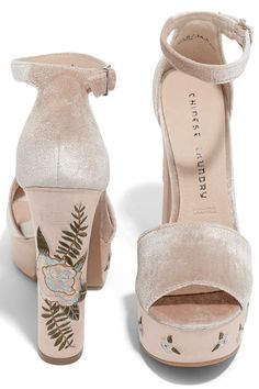 60b1bf18398 We are all singing the praises of the Chinese Laundry Ariana Nude Velvet Platform  Heels!