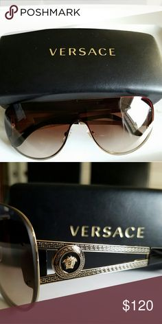 0fe113087357 Versace Sunglasses Pale Gold Brown Gradient Absolutely stunning women  Versace sunglasses with case. These frame is metal features gorgeous shield  lenses. of ...