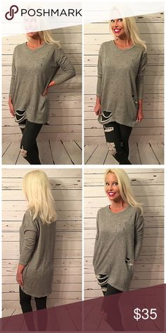 Adorable distressed French Terry Tunic w/pockets! Heather gray laser cut, distressed long tunic with pockets in soft French Terry Tops Tunics