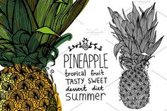Pineapple Tropical Fruit by apolinarias on @creativemarket
