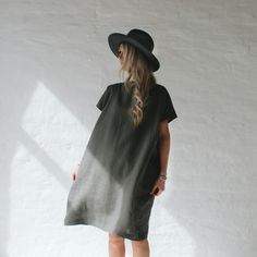 Grey linen dress. Minimalistic linen clothing. Linen collection