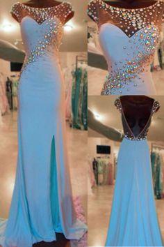 Gorgeous Prom Dresses,Chiffon Prom Dresses,With Slit Prom Dresses,O-Neck Prom Dresses,Beading Prom Dresses,Backless Prom Dresses