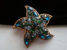 Regency Signed Starfish Brooch * Designer Signed Aqua & Blue Rhinestone Pin * 1950's 1960's High End Vintage jewelry * Old Hollywood Glam by MartiniMermaid on Etsy