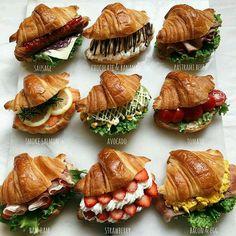 Croissant Sandwich, Croissant Recipe, Healthy Snacks, Healthy Recipes, Snack Recipes, Cooking Recipes, Le Diner, Food Platters, Cafe Food