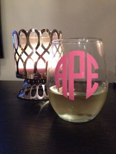 Glitter or Solid Monogrammed Stemless Wine Glass by TEALandDOOLEY, $8.50