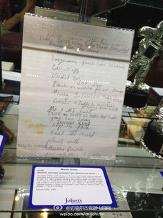 Handwritten production notes on display at Julien's Auction House