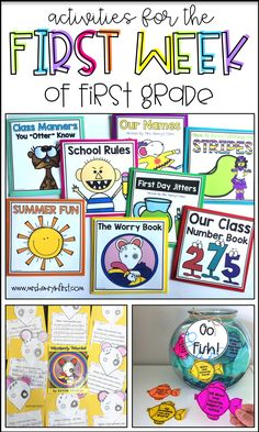 these fun first week of school activities for first grade from Samantha Henry!Check out these fun first week of school activities for first grade from Samantha Henry! First Grade Themes, First Grade Lessons, Teaching First Grade, First Grade Teachers, First Grade Classroom, First Grade Math, Grade 1, Future Classroom, First Day In First Grade