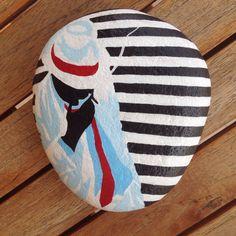 #art #painted #rocks #stones #pebbles #acrylics #man #stripes #popart #tasboyama #N4Joy