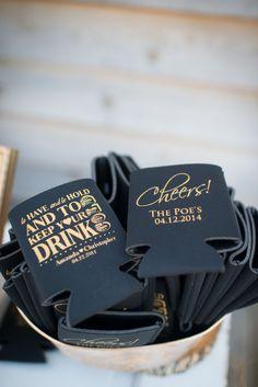 cute DIY black and gold drink koozies as wedding favors Creative Wedding Favors, Unique Wedding Favors, Wedding Party Favors, Rustic Wedding, Our Wedding, Wedding Reception, Wedding Ideas, Wedding Koozies, Dream Wedding