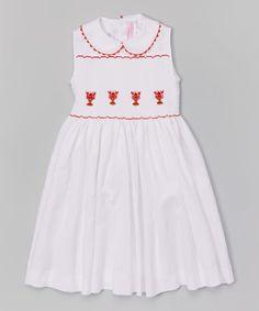 Look what I found on #zulily! White Smocked Lobster Dress - Infant, Toddler & Girls #zulilyfinds