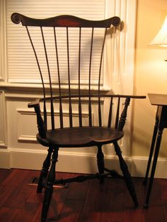Comb Back Windsor Chair w/ engraved scroll on headrest