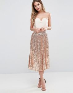 Please click on the picture to go to the detail page. TFNC Pleated Midi Skirt In All Over Sequin