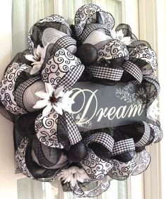 Image detail for -Elegant Black & White Deco Mesh Wreath by Southern Charm Wreaths. by lindsay0