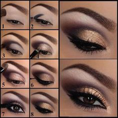 Lila und Gold Augen Makeup Tutorial Make-up Lidschatten Purple and Gold Eye Makeup Tutorial Makeup Eyeshadow up Bronze Eye Makeup, Eye Makeup Steps, Daytime Eye Makeup, Silver Eyeliner, Make Up Tutorials, Makeup Tutorial For Beginners, Hair Tutorials, How To Apply Eyeshadow, Applying Eyeshadow