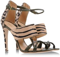 Sergio Rossi Animal Print Green Sandals with Spiked Heels €450 Spring Summer 2014 #Shoes #Heels