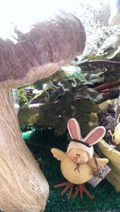 Easter bunny-chick under mushroom, at Hoopla Emporium