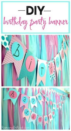 DIY Birthday Party Banner / DIY Party Decorations / DIY Party Banner  sc 1 st  Pinterest & Easy DIY Birthday Banner | 90th birthday party ideas | Pinterest ...