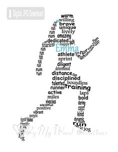 Runner Art Jogger Art Girl Runner Word Art by ByMyWordCreations Running Quotes, Running Motivation, Running Art, Running Club, Sport Quotes, Special Words, Special Girl, When You Are Happy, As You Like