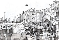 Turkoman Gate, Delhi by TomHopkinson on DeviantArt Human Figure Sketches, Human Sketch, Human Figure Drawing, Figure Sketching, Perspective Drawing Lessons, Perspective Sketch, Drawing Sketches, Art Drawings, Cityscape Drawing