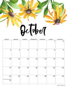 October 2021 calendar page with yellow flowers Calendar 2019 Printable, Monthly Planner Printable, Blank Calendar, Printable Calendar Template, Print Calendar, Free Printable Calendar, Calendar Pages, Calendar 2020, Free Printables