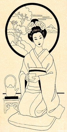 The Beauty of Japanese Embroidery - Embroidery Patterns Japanese Drawings, Japanese Art, Colouring Pages, Coloring Books, Asian Quilts, Geisha Art, Geisha Drawing, Japanese Tea Ceremony, Japanese Embroidery