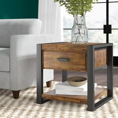 Find Telfair End Table Sled Greyleigh online. Shop the latest collection of Telfair End Table Sled Greyleigh from the popular stores - all in one Diy Pallet Furniture, Steel Furniture, Handmade Furniture, Furniture Design, End Table Sets, Wood End Tables, End Tables With Storage, Diy Sofa Table, Sofa Tables