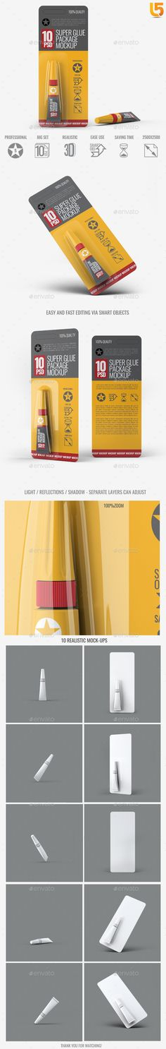 Super Glue Packaging Mock-Up by L5Design Super Glue Packaging Mock-Up Easy to mock-up edit, easy navigation, flexible configuration, friendly pdf help file. Has everything