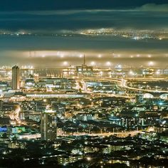 Cape Town, South Africa on a misty night - table bay covered with mist. Places Around The World, The Places Youll Go, Places To See, Around The Worlds, Cityscape Photography, Cape Town South Africa, Most Beautiful Cities, Africa Travel, Pretoria