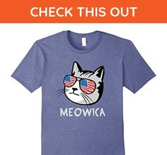 Mens Funny Cat Meowica T Shirt USA Flag Glasses 4th of July XL Heather Blue - Holiday and seasonal shirts (*Amazon Partner-Link)
