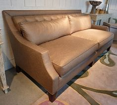 """Updated classic elegance with this Wesley Hall sofa in Annabelle Cafe, a handsome glazed linen. Great scale and comfort in a 78"""" sofa with hand-tufted back and blend down lumbar pillows. Think about ordering a second set of pillows in a pattern for extra versatility. 310 North Hamilton #HPmkt Sofa Design, Interior Design, Classic Elegance, Elle Decor, Traditional House, Comforter Sets, High Point, Interior Inspiration, Den"""