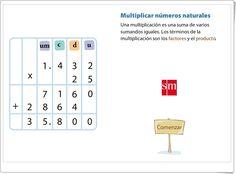 """""""Multiplicar números naturales"""" (Presentación animada del algoritmo de la multiplicación) Periodic Table, Calendar Numbers, Maths Area, Teaching Resources, Invitations, Periodic Table Chart, Periotic Table"""