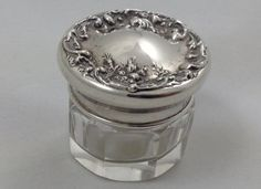 Fluted Glass Vanity Dresser Powder Jar with Lovely Floral Design on Sterling Silver Lid Top