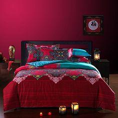 Amazon.com - FADFAY Bohemian Style Duvet Covers Bedding Set Full Size Boho Bedding 4 Pieces -