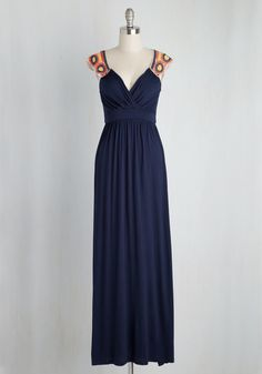 <p>Enjoy your all-access passes to the weekend folk festival in this jersey maxi dress! With its surplice top and colorful, crocheted yoke, this navy number keeps you cool. From the opening acts to the after parties, you'll be in tune at ease in this blue dress!</p>
