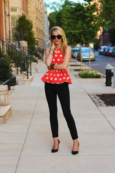 atlantic pacific asos peplum polka dot minnie black pants dvf