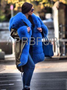 Купить Парка зимняя тёплая цвет сафари с голубым песцом - парочка, парка, куртка