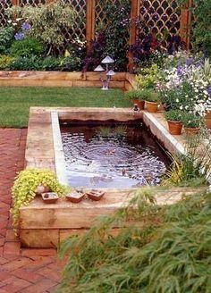 raised pond w/ fountain