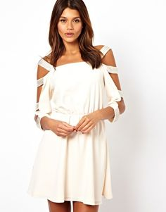 Cold Shoulder Embellished Shift Dress