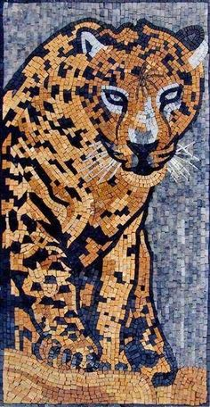 A beautiful creation by one of our artists of a Cheetah. Created using dominant colors of brown and white give this mosaic mural an authentic look that is sure to impress your visitors for years and years.