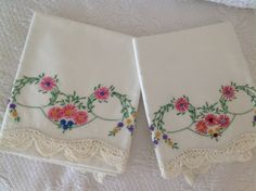 Vintage Pair Of Pillow Cases Floral Embroidered Crocheted Shabby Chic Cottage