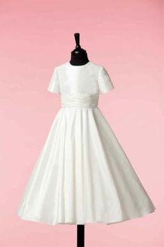 Ballerina Length Communion Dress - Plain Simple White Silk Short Sleeve Full Circle Skirt By Isabella 80G02235