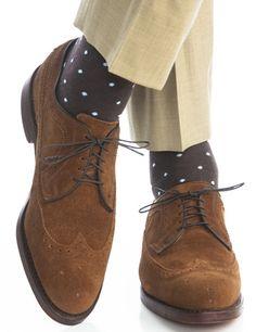 Dapper Classics Brown with Sky Blue Polka-Dot Linked Toe Fine Merino Wool Sock