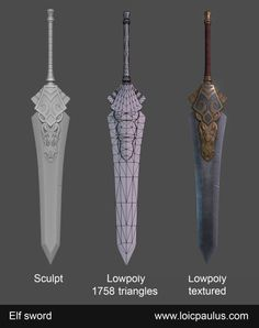 What Are You Working On? 2013 Edition - Page 565 - Polycount Forum Modelos Low Poly, Modelos 3d, Zbrush Character, 3d Model Character, Cool Swords, Hand Painted Textures, Sword Design, Cg Artwork, Prop Design