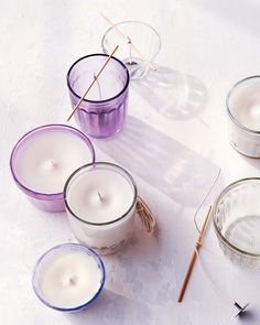 Beyond its appealing aroma, lavender has been shown to help relieve insomnia, stress, and anxiety. DIY candles made from soy wax mixed with lavender essential oil. Homemade Candles, Votive Candles, Scented Candles, Lavender Candles, Citronella Candles, Beeswax Candles, Candle Wax, Cardamom Essential Oil, Essential Oils
