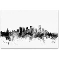 Trademark Fine Art Edmonton Canada Skyline B Canvas Art by Michael Tompsett, Size: 30 x 47, Gray
