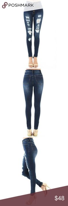"🔥REDUCED! High Waisted Deconstructed Skinny Jean High Waisted Deconstructed Perfect Stretch Skinny Jeans | Exposed Button fly, 5 Pocket Style | Whisker Fading, Hand Sand. 🌱 98% Cotton 🌱 2% Spandex 🌱 Please use the sizing chart for your perfect fit.  The waist is measured to fit the smaller part of your waist. 🐦 Inseam: 30"" 🐦 Front-rise: 10"" Jeans Skinny"