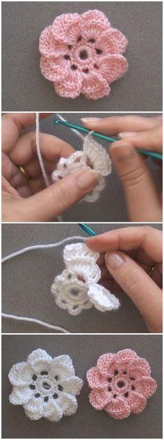 buggritphooey:Just Pinned to Crochet: Crochet 8 Petal Flower.-buggritphooey:Just Pinned to Crochet: Crochet 8 Petal Flower… (Mingky Tinky Tiger + the Biddle Diddle Dee) buggritphooey:Just Pinned to Crochet: Crochet 8 Petal Flower… - Crochet Puff Flower, Crochet Flower Tutorial, Crochet Flowers, Crochet Baby, Diy Flowers, Crochet Motifs, Crochet Afghans, Ravelry Crochet, Crochet Granny