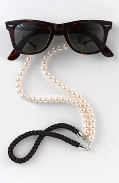Pearl croakies & Ray-Bans.